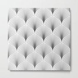 Black art-deco geometric pattern on white Metal Print