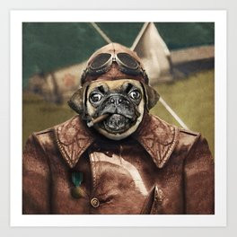 Pete the Pilot Pug Art Print