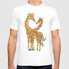 Henna Giraffe White Mens Fitted Tee MEDIUM