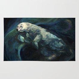 Polar Bear Swimming in Northern Lights Rug