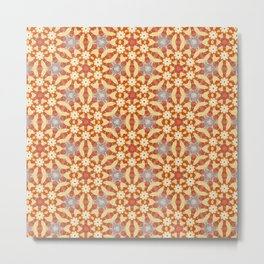 Yellow and Orange Floral Pattern Design Metal Print