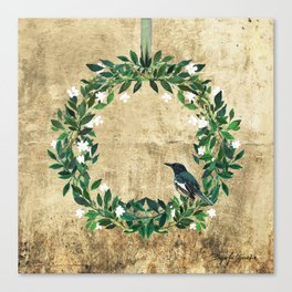 Wreath #White Flowers & Bird #Royal collection Canvas Print
