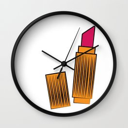 Gold and coral lipstick Wall Clock
