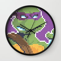 teenage mutant ninja turtles Wall Clocks featuring Teenage Mutant Ninja Turtles - Donatello by James Brunner