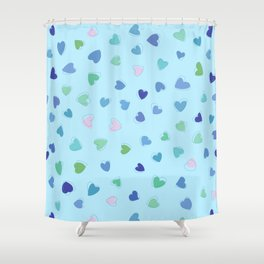 Love, Romance, Hearts - Blue Green Pink Shower Curtain