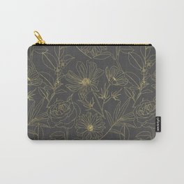 Simple garden flowers gold outlines design Carry-All Pouch