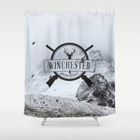 winchester Shower Curtains featuring Winchester Hunting Equipment by kamicom