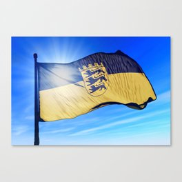Germany Baden-Wuerttemberg flag waving on the wind Canvas Print