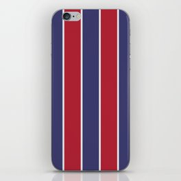 Large Red White and Blue USA Memorial Day Holiday Vertical Cabana Stripes iPhone Skin