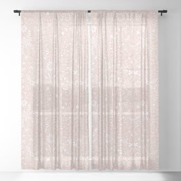 Floral Pattern - White on Pink Sheer Curtain