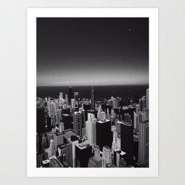 Black and White Chicago Skyline Art Print