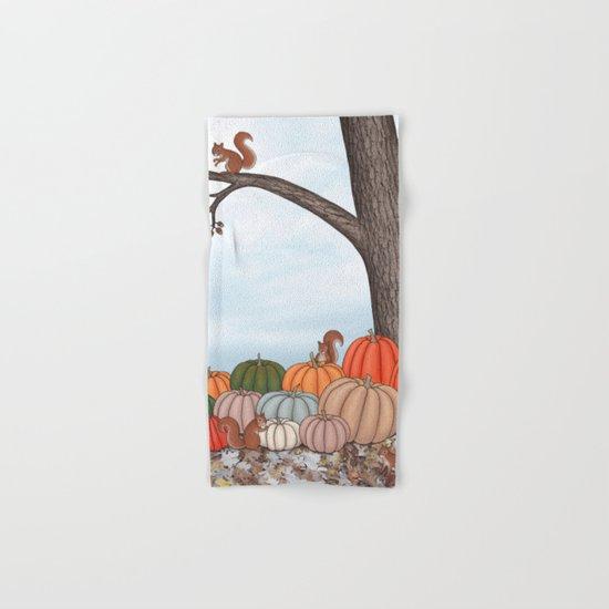 heirloom pumpkins, squirrels, & the oak tree Hand & Bath Towel