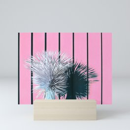 Yucca Plant in Front of Striped Pink Wall Mini Art Print