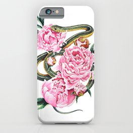 Garter Snake and Peonies iPhone Case