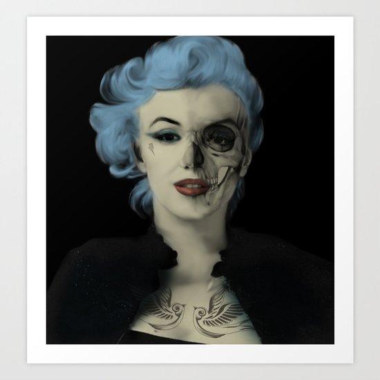Screwed and Tattooed, Rockabilly Marilyn.  Art Print