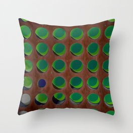 Abstract array of dots in rusty red and green with one blue dot standing out from the crowd Throw Pillow