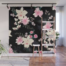 Beautiful Vintage Black Floral Pattern Wall Mural