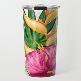 Tropical Hibiscus Summer Bouquet Travel Mug