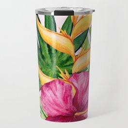 Tropical Hibiscus Summer Bouquet Travel Mug