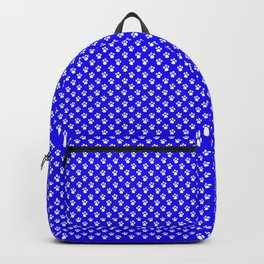 Tiny Paw Prints Pattern - Bright Blue & White Backpack