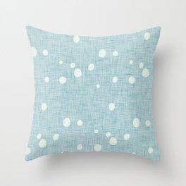 Modern Farm House Polka Dots Blue Throw Pillow