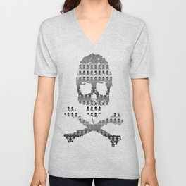 Skull and XBones - Smaller: Metal and Slight Pink Unisex V-Neck