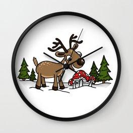 Reindeer Munches a Cap Wall Clock