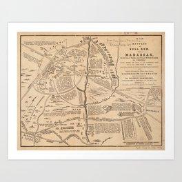 Vintage Map of The Battle of Bull Run (1861) Art Print
