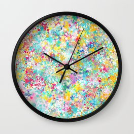 Spring Confetti Brushstrokes Wall Clock