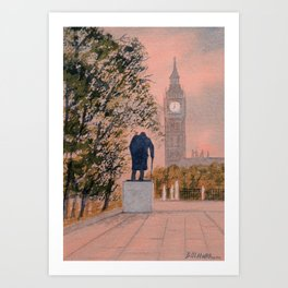 Churchill And Big Ben Art Print