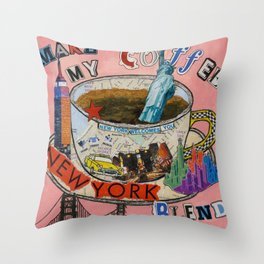 New York City Coffee Blend Collage Throw Pillow