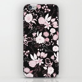 Blush pink white black rustic abstract floral illustration iPhone Skin