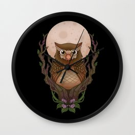 Owly - black background Wall Clock