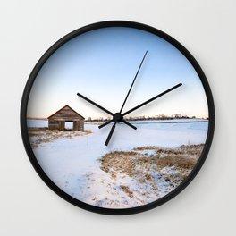 Snowy Barn Landscape Wall Clock