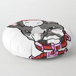 Boston Terrier Dog Christmas Hat Present Floor Pillow