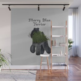 Merry Blue Terrier (Gray Background) Wall Mural