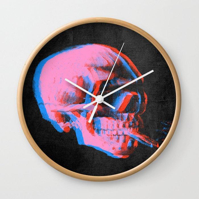 Van gogh skull with burning cigarette remixed b Wall Clock