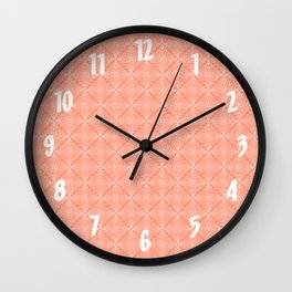 White Lace on Coral Pink Background Wall Clock
