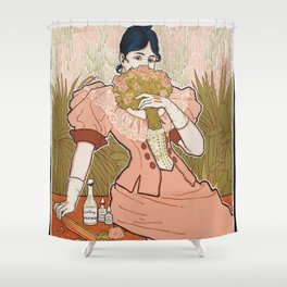 Victorian Era Perfume Ad Shower Curtain