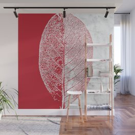 Natural Outlines - Leaf Red & White Marble #930 Wall Mural
