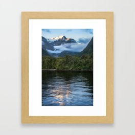 Sunset in beautiful Harrison Cove at Milford Sound Framed Art Print