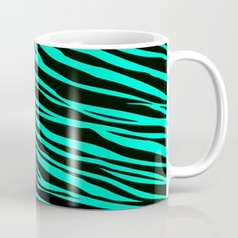Teal Green Zebra Stripes Coffee Mug