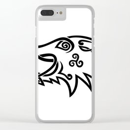 Boar Head Celtic Knot Black and White Stencil Clear iPhone Case