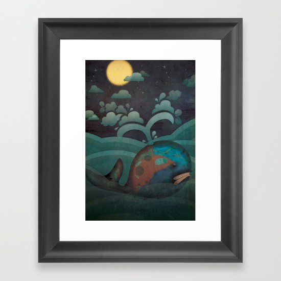 Weary Whale Framed Art Print