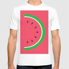 Red Watermelon - Summer time White Mens Fitted Tee MEDIUM