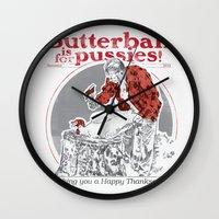 thanksgiving Wall Clocks featuring Happy Thanksgiving! by Hey!Roger