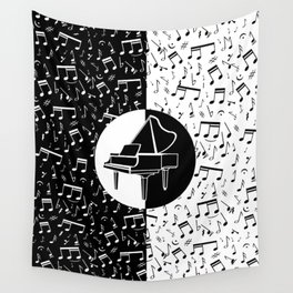 Contemporary piano and musical notes Wall Tapestry