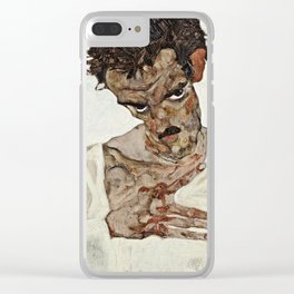 Egon Schiele - Self Portrait With Lowered Head Clear iPhone Case