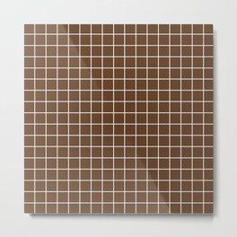 Van Dyke brown - brown color - White Lines Grid Pattern Metal Print