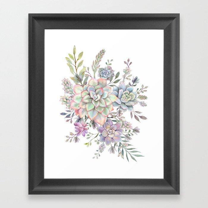 succulent watercolor 8 Gerahmter Kunstdruck